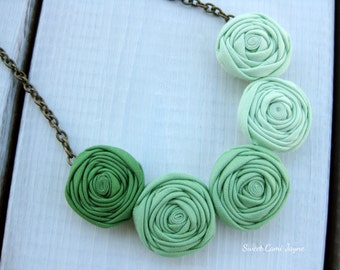 Ombre Necklace Green Statement Necklace Bib Necklace Fabric Jewelry Mini Rosette Necklace Green Ombre Jewelry Clover Green Mint Green