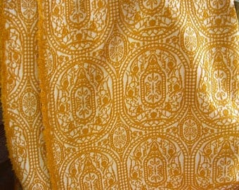 Retro Orange Stretchy Fabric - Several Yards - Scap - Sewing Projects