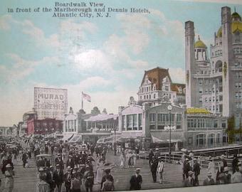 Vintage Atlantic City NJ Boardwalk Colorized Postcard - Advertising Signs