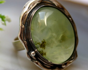Green Stone Ring Statement Prehnite Ring Sterling Silver Jewelry