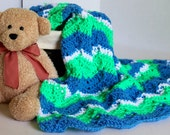 Afghan- Baby Blanket - Ripple Pattern - Lapaghan- Throw - Green and Blue