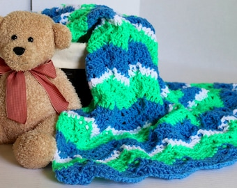 Afghan- Baby Blanket - Ripple Pattern - Lapaghan- Throw - Green and Blue - Christmas in July SALE - 20 % off until July 31st