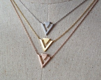 Geometric Necklace, Double Triangle Necklace, Dainty Necklace, Triangle Necklace