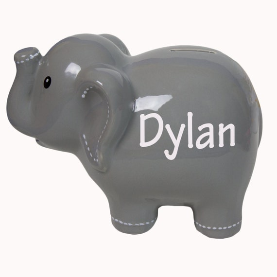 Personalized gray elephant ceramic piggy bank girls boys for - Ceramic piggy banks for boys ...