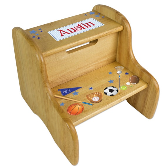 Personalized Sports Children S Wood Step Stool With By