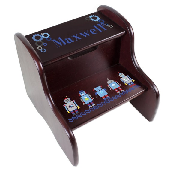 Personalized Boys Robot Step Stool Espresso Two Step Fixed