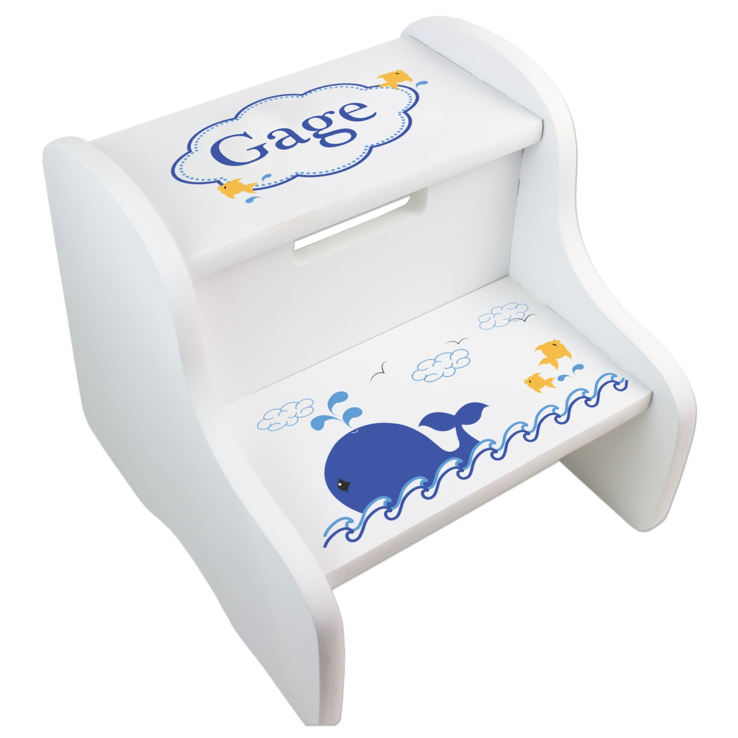 Personalized Childs Whale Step Stool For Sea Life Nautical