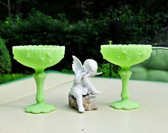 Fenton Lime Green Glass Pedastal Dish