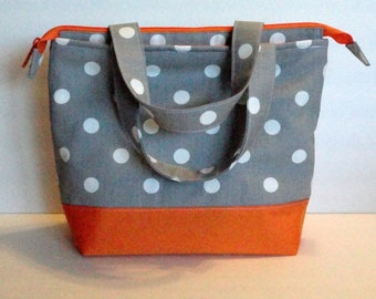 Lunch Bag Adult Lunch Bag Insulated Womens Lunch Bag Large Zipper Top Inside. Pockets Grey Polka Dot Choose Your Color