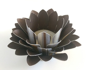 Handmade Paper Lotus Lamp - Brown Blue Striped Paper - Tealight holder - Waterlily - Paper Lotus Flower - 3d Paper Art - Home Essentials