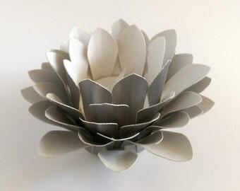 Paper Flower Decor - Tealight holder - Handmade Paper Lotus - Flower Table Lamp  - Metallic Silver  - Waterlily - 3d Paper Art - Kids Room