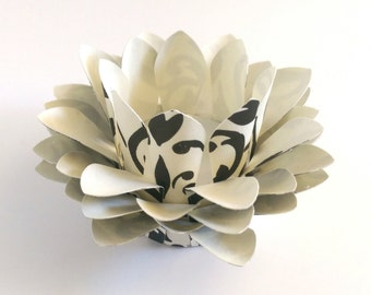 Black and Cream Damask - Paper Lotus Lamp - Tealight Holder - Waterlily - Paper Lotus Flower - Home Essentials - Paper Flowers - Home Decor