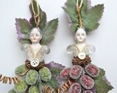 original altered art doll ornament, mixed media assemblage art, BACCHUS Bacchante maenad glass beaded  by Elizabeth Rosen