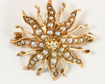 Antique 10kt Gold Sunburst Pendant or Watch Pin - 3 Pt Diamond with Seed Pearls - Victorian Gold Brooch - Vintage Fine Jewelry