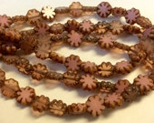 Czech Cactus Flower Bead 9mm Milky Opaque Pink Mix Picasso Finish 1 Strand