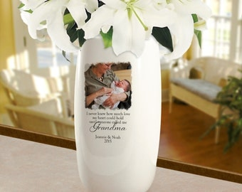 Flower Vase Personalized for Grandma : Porcelain with Photo Gift for First-Time Grandma, Mother's Day, Grandparent's Day, New Baby, Birthday