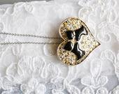 Heart Pendant, Black Enamel Dogs, Animal Figural, Clear Rhinestones, Silver Tone, HALF OFF Sale, Item No. B 454