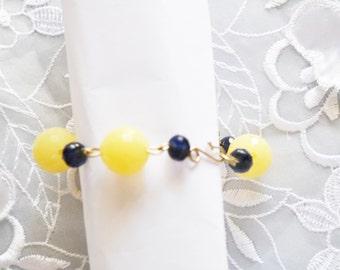 Vintage Beaded Bracelet, Yellow & Sapphire Blue Beads, Alpaca Wire, HALF OFF Sale, Item No. B209