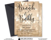 BOKEH BRUNCH & BUBBLY Invitation Champagne Bridal Shower Gold Sparkle Printable Black Calligraphy Free Shipping or DiY Printable - Mila