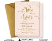 TWIN GIRLS INVITATION Baby Shower Invite Blush Pink & Gold Glitter Confetti Sprinkle Sparkle Twin Party Free Shipping or DiY Printable- Mila