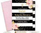 BLACK & WHITE BAPTISM Invitation Christening Party Invite Pink Peony Stripe Gold Glitter Confetti Printable Free Shipping or DiY- Krissy