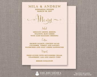REHEARSAL DINNER MENU Blush Pink Gold Glitter Bridal Shower Bohemian Wedding Elegant Formal Hen Party Whimsical Modern DiY or Printed- Mila