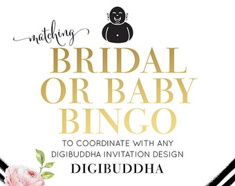 BRIDAL or BABY ShOWER BINGO Made to Match any digibuddha Invitation design. Printable DiY Coordinating 5x7 Bridal Baby Game Favor Party Game