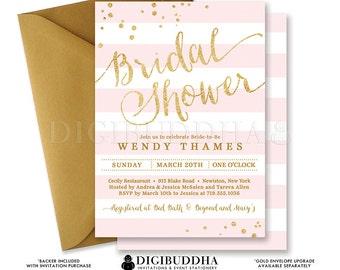Blush PINK & GOLD BRIDAL Shower Invitation Stripes Printable Invite Pink Gold Glitter Modern Wedding Free Priority Shipping or DiY- Wendy