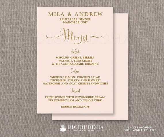 REHEARSAL DINNER MENU Blush Pink Gold Glitter Bridal