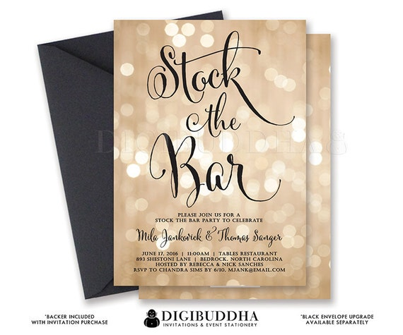 BOKEH STOCK the BAR Invitation Champagne Engagement Couples Shower