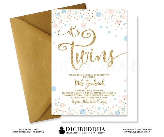 twins shower invitation baby shower invite pink & blue gold,