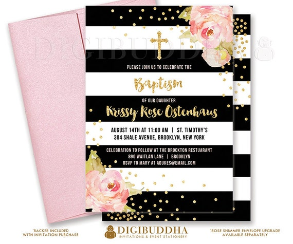 BLACK WHITE BAPTISM Invitation Christening Party Invite Pink