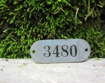 Number Tag Vintage Original Locker Basket Tag Worn Metal Number 3480 Tag #3480 Tag Lucky Number Address Door Number vtg Early 1900's Old
