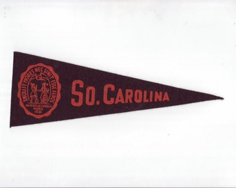 Vintage College Pennant South Carolina Black vtg SMALL MINI Felt School Pennant Flag 1940s-1960s Dorm Collectible Sports Decor Man Cave