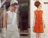 """Vintage 1968 Vogue Couturier Design Misses' Dress Pattern Pertegaz Size 10 (32 1/2"""" Bust)"""