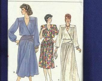 Vintage 1986 Vogue 9517 Retro Evening Dress with Strong Shoulders & Blouson Wrap Bodice Size 12 UNCUT