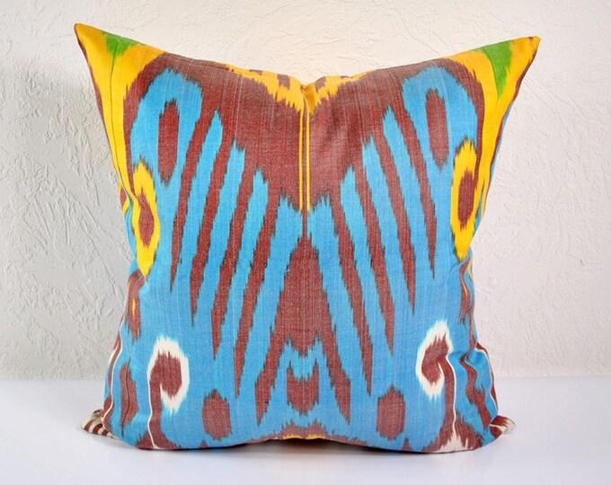 Ikat Pillow, Hand Woven Ikat Pillow Cover  A471-1aa3, Ikat throw pillows, Designer pillows, Decorative pillows, Accent pillows