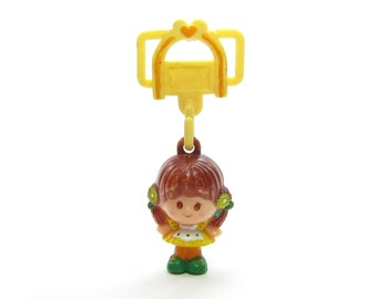 Brown Eyed Susan Charmkins Toy, Vintage 1980's Hasbro Girl with Yellow Jewelry Ribbon Hanger