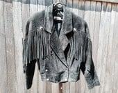 Sale! Black leather suede fringe jacket 80/90s