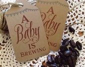 A Baby is Brewing Favor Tag Large Coffee Tea Peter Rabbit Baby Shower Party Celebration Theme Coffee Bean Favour Gift Tag Label Thank You