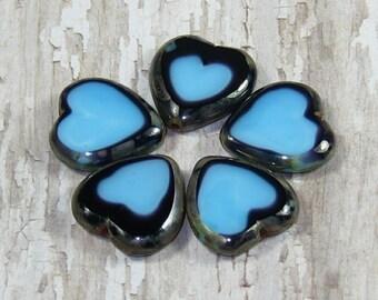Blue Heart 16x15mm Bead Czech Glass Purple Picasso BE MY VALENTINE (6)