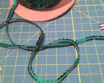 5mm wide Emerald Green Sequin String Trim x five metres