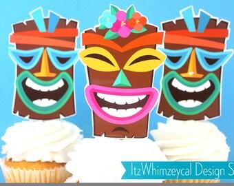 Luau Tiki Hawaiian Die Cut Cupcake Topper (One Dozen)