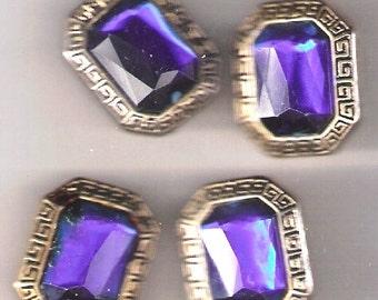 Vintage Button Covers Sapphire Blue Faceted Stones Goldtone
