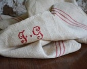Vintage French linen tea towels, Antique Monogrammed linens, Initials F G