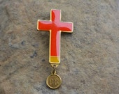 Catholic Brooch, Lourdes Cross, Vintage Religious Jewelry, Vintage Christian Jewelry, Catholic Gift