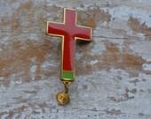 Vintage Religious Jewelry, Catholic Brooch, Vintage Christian Jewelry, Lourdes Cross, Catholic Gift, St Bernadette