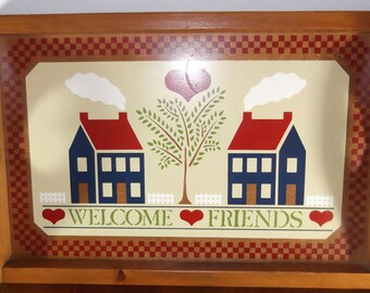Vintage Wooden Tray Handmade Folk Art Circa 1986 American Craftsman American Farmhouse Decor