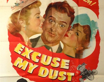 """Excuse My Dust. Original 1951 US 41""""x54"""" partial 3-sheet Movie  Poster.Car Racing Musical Comedy.Red Skelton,Sally Forrest, William Demarest"""