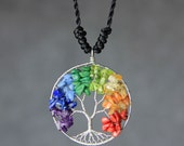 Colorful rainbow tree of life branch wiring pendant necklace Free US Shipping handmade Anni Designs